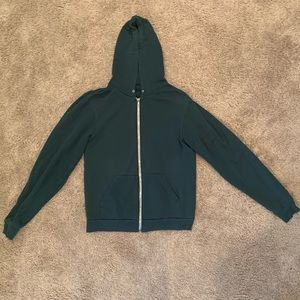 American Apparel Green Zip-Up Hoodie